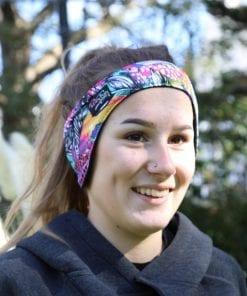 fleece lined headband with feather print