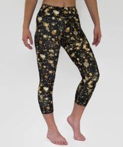 black and gold capri leggings