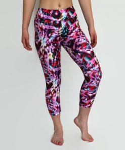 pink refraction capri leggings worn by model